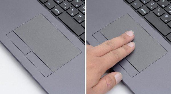 タッチパッドは実測で101.5mm×56mm。左右のボタンが独立したタイプです