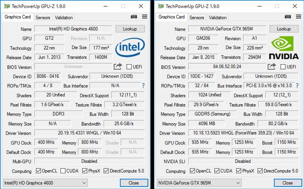 グラフィックス機能としてはCPU内蔵のIntel HD Graphics 530と、外付けGPUのGeForce GTX 965Mを切り替えて利用します
