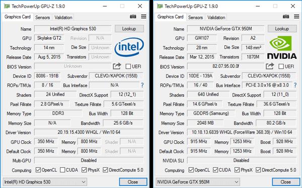 グラフィックス機能はOptimus対応で、負荷が軽いときにはCPU内蔵のIntel HD Graphics 4600が使われ、ゲームなど負荷の高い処理にはGeForce GTX 965Mに切り替えて利用します