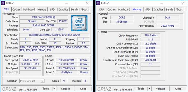 Core i7-6700HQの詳細情報