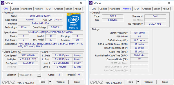 Core i5-4210Mの詳細情報。メモリーには