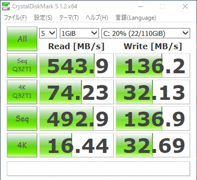「CrystalDiskMark」でSSDのアクセス速度を計測したところ、シーケンシャルリードで543.9MB/秒という結果でした。速度は標準的なHDDの5倍程度で、eMMCの4倍以上です。ただし書き込み速度はそれほど速くないようでした