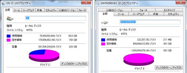 Cドライブとして使われている256GB SSD(左)とDドライブとして使われている1TB HDD(右)の空き容量