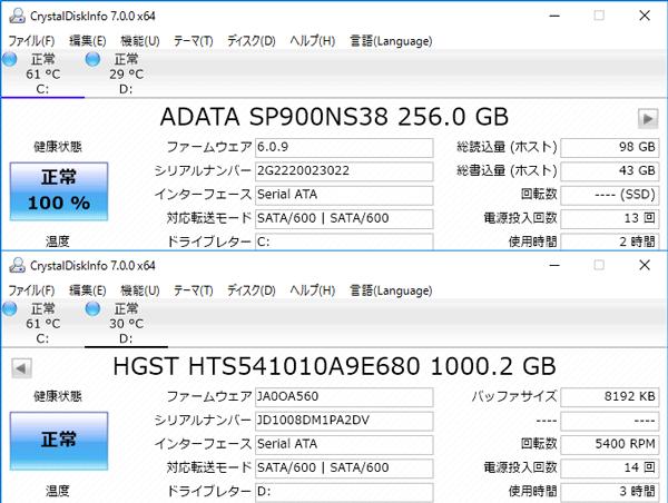 試用機ではSSDにADATAの「Premier Pro SP900(SP900NS38)」256GBモデル、HDDにはHGSTの「HTS5410」が使われていました