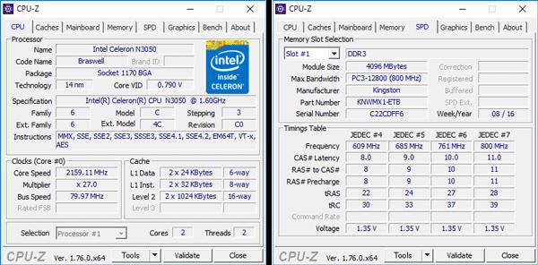 Celeron N3050の詳細情報。メモリーにはDDR3Lのモジュールが1基使われています