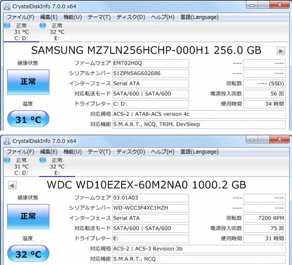 試用機ではサムスン製のSSDとウェスタンデジタル製のHDDが使われていました