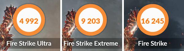 「3DMark」ベンチマーク結果。4K解像度での3D性能を計測する「Fire Strike Ultra」は「4992」、WQHD解像度の「Fire Strike Extreme」は「9203」、フルHDの「Fire Strike 」は「16245」という結果でした