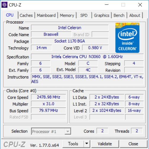 Celeron N3060の詳細情報