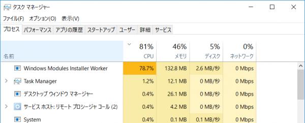 何度かアップデートを行なっても動作が遅いままだったのでタスクマネージャーを確認したところ、アップデート後の処理を行なう「Windows Modules Installer Work」がいつまでも終了しないまま動作し続けていました