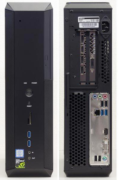 フロントパネルとバックパネル。PCケースは非常にスリムです