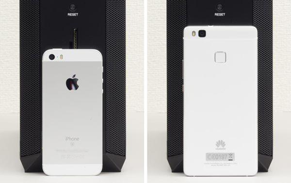4インチのiPhone SEと、5インチのP9liteとの比較。ゲーミングPCとしてはありえない幅であることがおわかりいただけるはず
