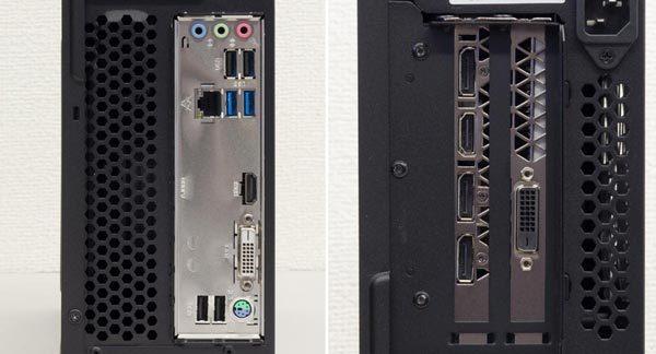 背面のI/Oパネルにはオーディオ端子類、USB2.0×4、USB3.0×2、有線LAN、PS/2端子を用意。映像出力にはGTX 1080側のDispayPort×3、HDMI、DVI-Iを利用します