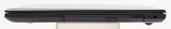 右側面には光学ドライブとして、DVDの書き込みと読み込みに対応するDVDスーパーマルチドライブが用意されています