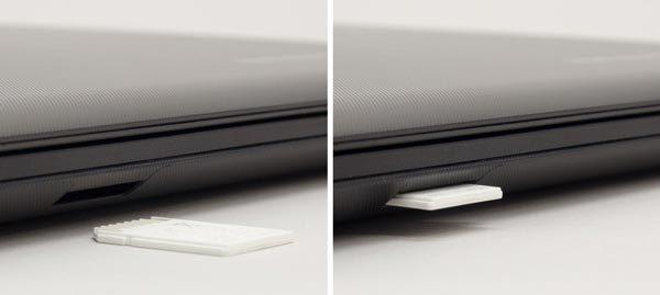 対応カードはSD/SDHC/SDXCメモリカードです。スロットに挿入すると、1/3ほど外に残ります