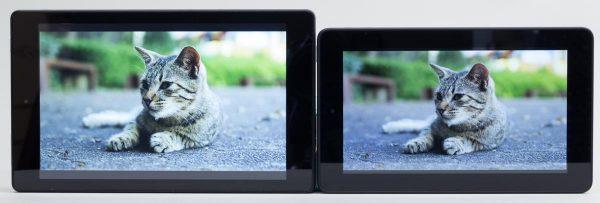 Fire HD 8と7型Fireタブレットの色合いの違い