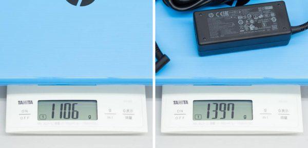 重量は実測で1.106kg。電源アダプター込みで1.397kgでした ※クリックで拡大