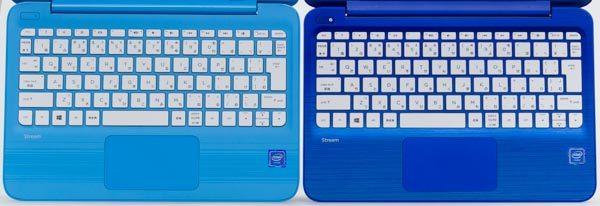 新旧モデルのキーボードを比較。キーピッチが0.2mm変わっていますが、見た目や使用感に違いはあまりありません