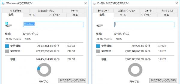 CドライブとDドライブの空き容量。大容量のゲームは、HDDに保存することをおすすめします