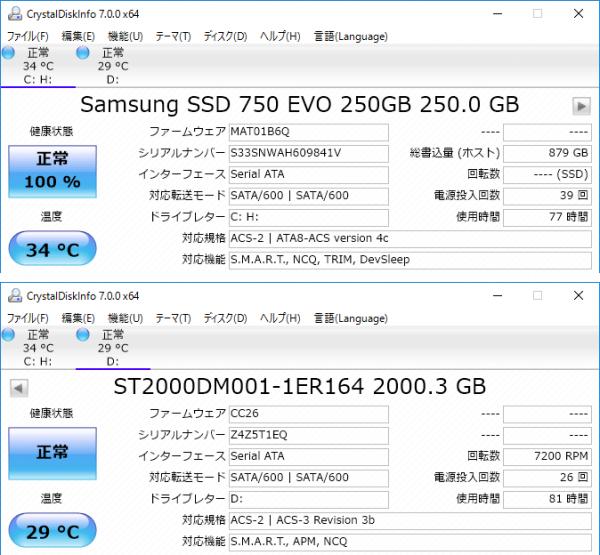 試用機ではSSDに「Samsung 750 EVO」の250GBモデル、HDDにはシーゲートの「BarraCuda 2000GB(ST2000DM001)」が使われていました
