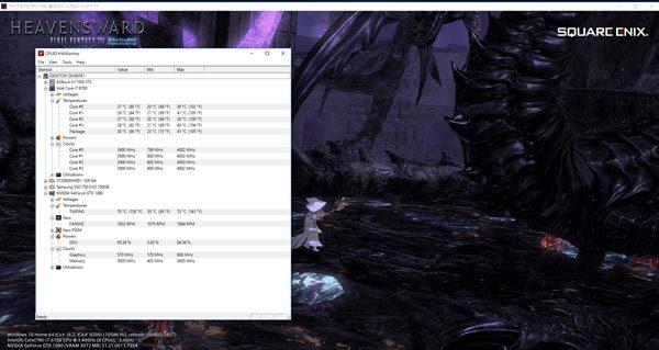 FF14ベンチ実行中のCPUとGPUの温度 ※クリックで拡大