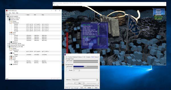 CPUとGPUに同時に高い負荷をかけたときの状態 ※クリックで拡大