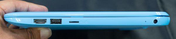 右側面にはHDMI、USB2.0、microSDカードスロット、電源コネクター