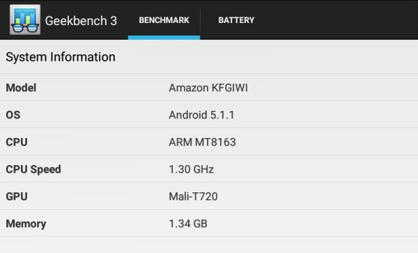 Fire HD 8のGeekbench 3システム情報