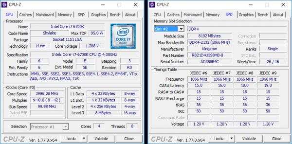 Core i7-6700Kの詳細情報。メモリーは8GB×2の構成です