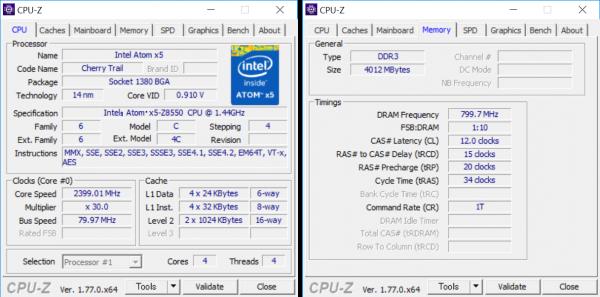 Atom x5-Z8550の詳細情報。メモリーは4GB×1の構成です ※クリックで拡大