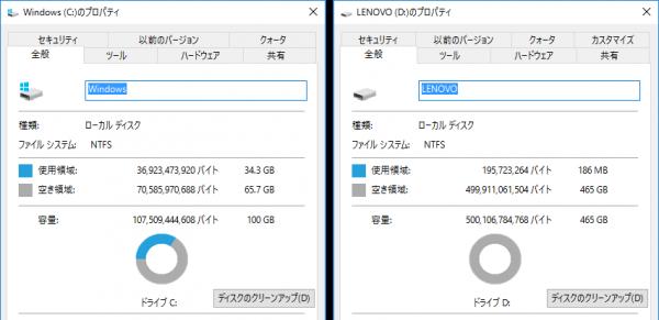 Cドライブには65.7GB、Dドライブには465GBの空き容量が残されていました ※クリックで拡大
