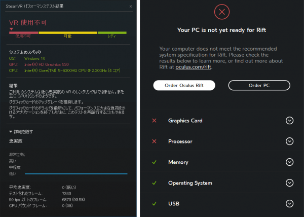 「SteamVR Performance Test」(左)と「Oculus Rift Compatibility Tool」(右)の結果 ※クリックで拡大