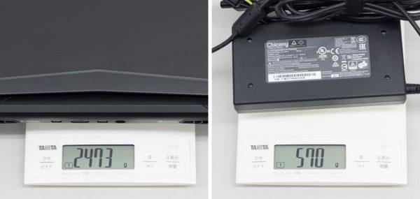重量は実測で2.473kg。電源アダプターが570gでしたので、ふたつ同時だと3kgを超えます ※クリックで拡大