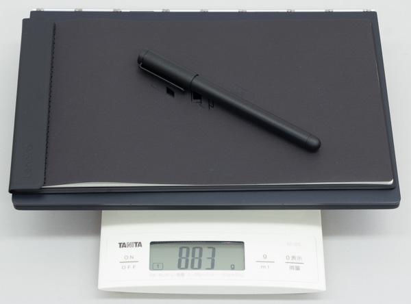 本体+BOOK Pad+リアルペン3点での合計重量は883g