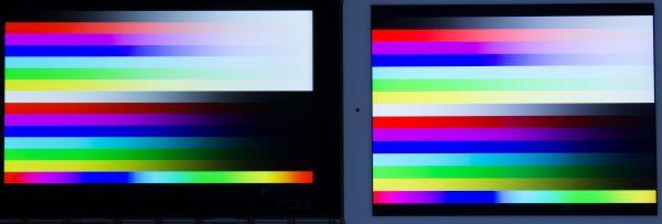 グラデーションの滑らかさはiPad Air 2(右)のほうが優れていますが、青系統はYOGA BOOK with Windows(左)のほうが豊かに表現されているような気がします ※クリックで拡大