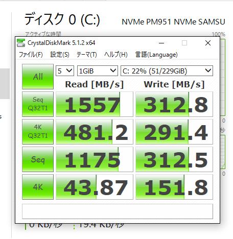 前モデルでのPM951のアクセス速度計測結果
