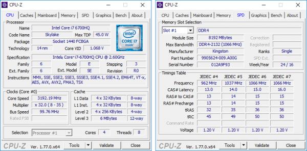Core i7-6700HQの詳細。メモリーは8GB×2の構成です ※クリックで拡大