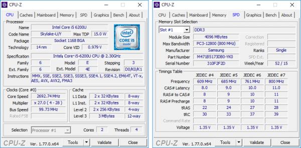 Core i5-6200Uの詳細状情報。試用機ではメモリーに4GB×2が使われていました