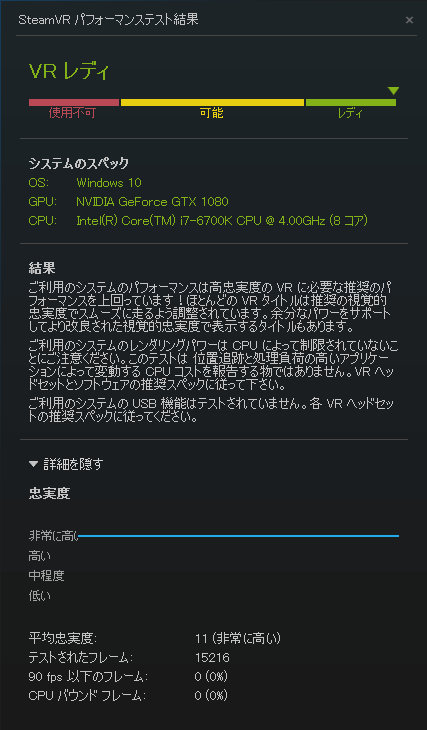 「SteamVR Performance Test」ベンチマーク結果
