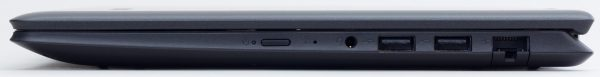 右側面は電源ボタン、マイク、ヘッドホン出力、USB2.0、USB3.0、有線LAN端子