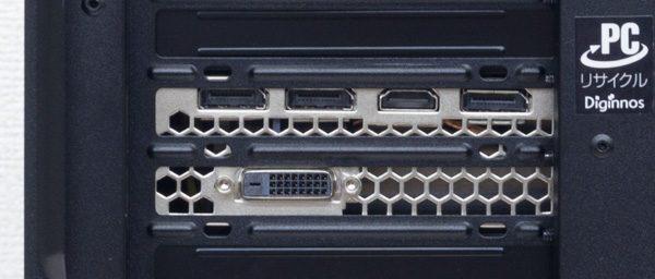 映像出力には、GeForce GTX 1070のポートを利用します。出力端子はDisplayPort×3、HDMI、DVIの構成