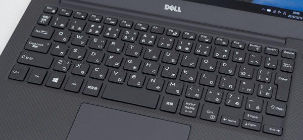 XPS 13のキーボード。キーピッチは実測で19mmでした