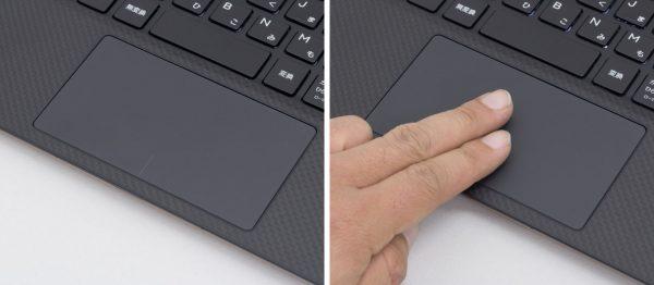 タッチパッドは実測で幅105×奥行き60mm。指すべりや追従性は良好です