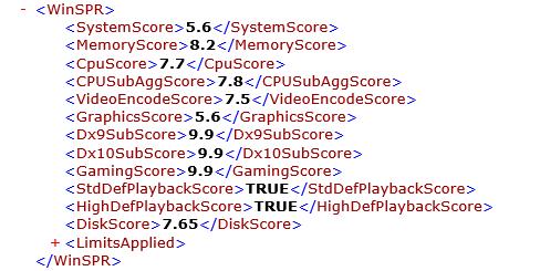 dynabook VZ72/BのWindowsエクスペリエンスインデックス