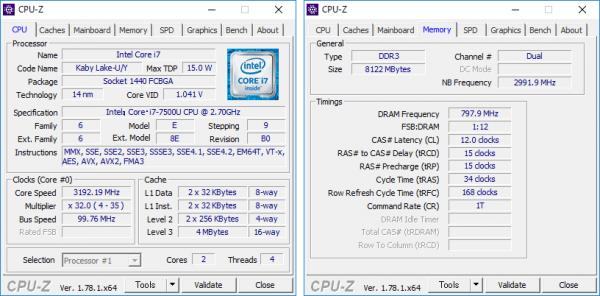 Core i7-7500Uの詳細情報