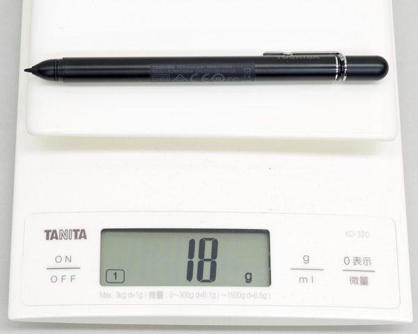 アクティブ静電ペンの重さ