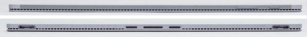 タブレット側の前面(上)と背面(下)。背面側にはキーボード接続用の端子とがガイドが配置されています ※クリックで拡大