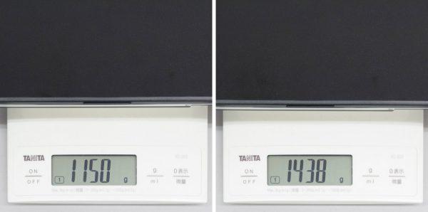 最小重量と最大重量の差