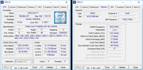 Core i7-6600Uの詳細情報