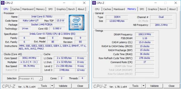 Core i5-7200Uの詳細情報