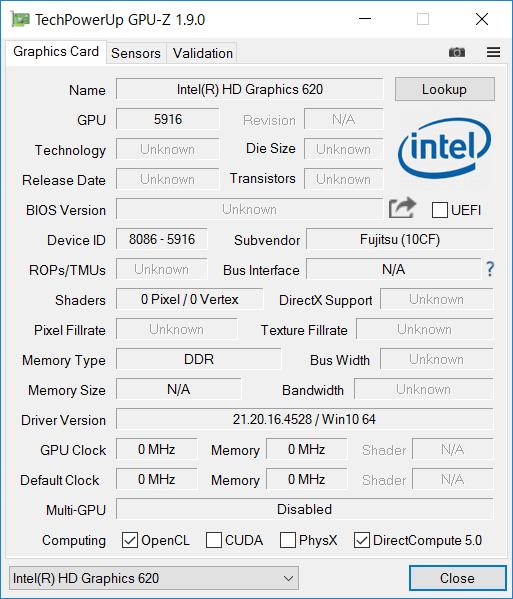 「GPU-Z」によるIntel HD Graphics 620の詳細情報